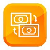 Het pictogram van de geldoverdracht Gele knoop Eps10 Vector stock illustratie