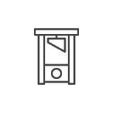 Het pictogram van de guillotinelijn, overzichts vectorteken, lineair die stijlpictogram op wit wordt geïsoleerd vector illustratie