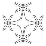 Het pictogram van de helikopterhommel, overzichtsstijl vector illustratie