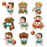 Het pictogram van de het basketbalspeler van het beeldverhaal Stock Afbeeldingen