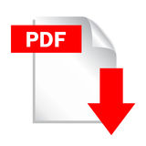 Het pictogram van de het dossierdownload van Pdf Stock Afbeelding