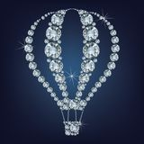 Het pictogram van de hete luchtballon maakte heel wat diamanten Royalty-vrije Stock Fotografie