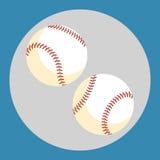 Het pictogram van de honkbalbal Twee witte ballen op een blauwe achtergrond Een ski Vector illustratie Stock Foto