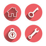 Het pictogram van de huissleutel Het hulpmiddelsymbool van de moersleuteldienst vector illustratie