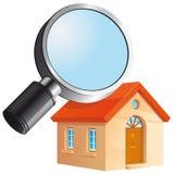 Het pictogram van de huiszoeking Stock Foto