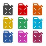 Het pictogram van de jerrycanbrandstof, geplaatste kleurenpictogrammen Stock Foto's