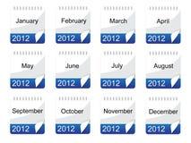Het pictogram van de kalender met maanden Stock Fotografie