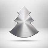 Het pictogram van de Kerstboom van Tecnology met metaaltextuur Royalty-vrije Stock Afbeelding