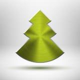 Het pictogram van de Kerstboom van Tecnology met metaaltextuur Royalty-vrije Stock Foto's