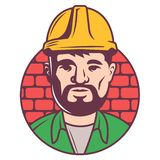Het pictogram van de kleurenbouwer in helm op bakstenenachtergrond de volwassen voorman met borada schreef in een cirkel in stock illustratie