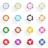 Het pictogram van de kleurenpijl verfrist zich, omwenteling, herhaalt teken Stock Foto