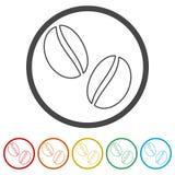 Het pictogram van de koffieboon, 6 Inbegrepen Kleuren stock illustratie