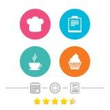 Het pictogram van de koffiekop Chef-kok Hat Symbol Muffin cupcake Stock Foto's