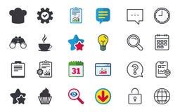 Het pictogram van de koffiekop Chef-kok Hat Symbol Muffin cupcake Stock Foto