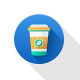Het pictogram van de koffiekop met het embleem van koffiebonen, met lange schaduw Royalty-vrije Stock Afbeelding