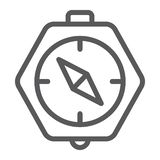 Het pictogram van de kompaslijn, aardrijkskunde en richting, navigatieteken, vectorafbeeldingen, een lineair patroon op een witte royalty-vrije illustratie