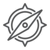 Het pictogram van de kompaslijn, reis en toerisme, kaartteken vector illustratie