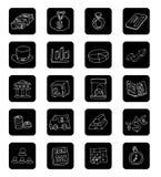 Het pictogram van de krabbelbank, hand getrokken illustratie Royalty-vrije Stock Afbeelding