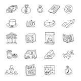Het pictogram van de krabbelbank, hand getrokken illustratie Stock Fotografie
