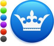 Het pictogram van de kroon op ronde Internet knoop Royalty-vrije Stock Fotografie