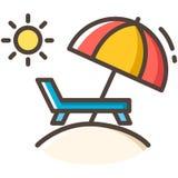 Het Pictogram van de de Lijnkleur van de stoelparaplu royalty-vrije illustratie