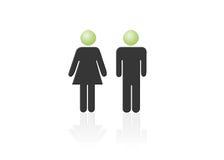 Het pictogram van de man en van de vrouw, één man, één vrouw Stock Fotografie