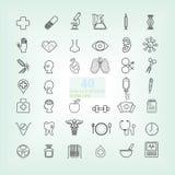 40 het pictogram van de medische & Gezondheidslijn stock illustratie