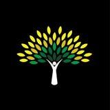Het pictogram van de mensenboom met groene bladeren - de vector van het ecoconcept Stock Afbeelding