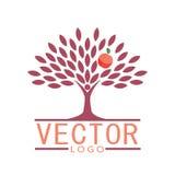 Het pictogram van de mensenboom met perzikfruit - de vector van het ecoconcept Stock Afbeeldingen