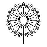 Het pictogram van de paardebloembloem, eenvoudige stijl vector illustratie