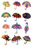 Het pictogram van de Paraplu's van het beeldverhaal vector illustratie