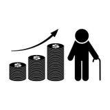 Het pictogram van de pensioenfondsgroei Pensioneringsplan Vector royalty-vrije illustratie