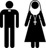 Het pictogram van de priester en van de non stock illustratie