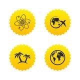 Het pictogram van de reisreis Vliegtuig, de symbolen van de wereldbol Stock Foto's