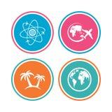 Het pictogram van de reisreis Vliegtuig, de symbolen van de wereldbol Royalty-vrije Stock Afbeeldingen