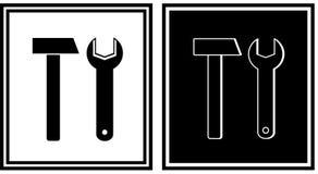 Het pictogram van de reparatie met hamer en moersleutel Royalty-vrije Stock Afbeelding