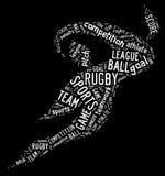 Het pictogram van de rugbyvoetbal met witte verwoordingen Royalty-vrije Stock Foto