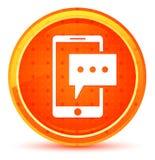 Het pictogram van de sms-berichttelefoon natuurlijke oranje ronde knoop vector illustratie