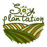 Het pictogram van de sojaaanplanting, hand getrokken stijl royalty-vrije illustratie