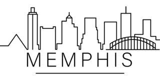 Het pictogram van het de stadsoverzicht van Memphis elementen van cityscapes het pictogram van de illustratielijn de tekens, symb stock illustratie
