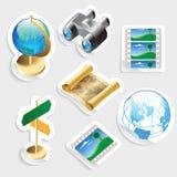 Het pictogram van de sticker dat voor reis wordt geplaatst Stock Afbeelding