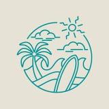 Het pictogram van de strandbranding voor de zomervakantie in lijnart. Royalty-vrije Stock Foto