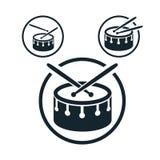 Het pictogram van de striktrommel, enig het themasymbool van de kleuren vectormuziek voor uw Royalty-vrije Stock Afbeeldingen