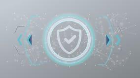 Het pictogram van de technologieveiligheid op een cirkel op een 3d achtergrond Royalty-vrije Stock Fotografie