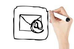 Het pictogram van de tekening e-mail Stock Foto's