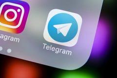 Het pictogram van de telegramtoepassing op Apple-iPhone X het schermclose-up Telegramapp pictogram Het telegram is een online soc Royalty-vrije Stock Foto's