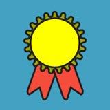 Het pictogram van de toekenningsmedaille Beste waarborgsymbool Het teken van de winnaarvoltooiing Stock Foto's