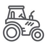 Het pictogram van de tractorlijn, vervoer en landbouw, het teken van de oogstmachine, vectorafbeeldingen, een lineair patroon op  royalty-vrije illustratie