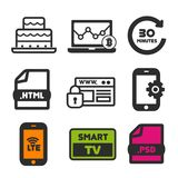 Het pictogram van de verjaardagscake Slim TV-symbool Websiteveiligheid en de pictogrammen van Smartphone LTE Laptop statistiektek vector illustratie