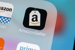 Het pictogram van de de Verkoperstoepassing van Amazonië op Apple-iPhone X het schermclose-up AmazonSellerapp pictogram De Verkop Royalty-vrije Stock Fotografie